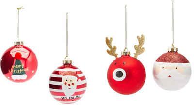 Weihnachtsbaumkugel »Funny« (4 Stück), mit vier verschiedenen Motiven