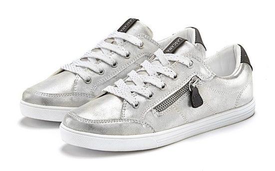 LASCANA Sneaker in Metallic-Optik und seitlichem Zierreißverschluss