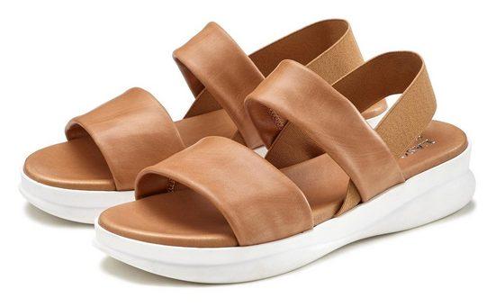LASCANA Sandale aus Leder mit modischer Sohle
