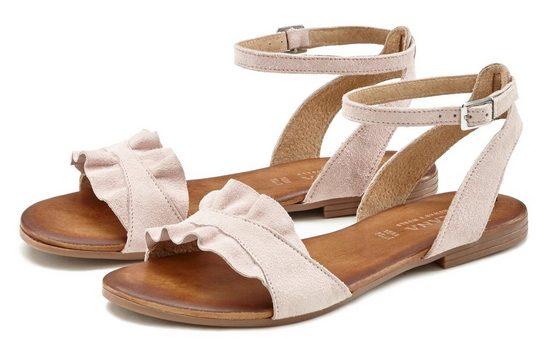 LASCANA Sandale aus hochwertigem Leder mit kleinen Rüschen