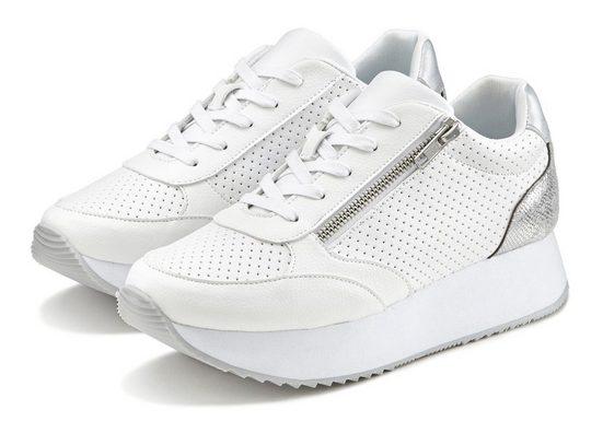 LASCANA Sneaker Plateau mit Metallic-Einsätzen und angesagter Sohle