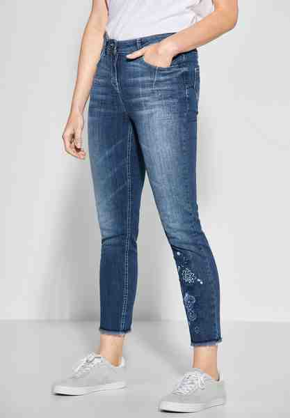Cecil Slim-fit-Jeans mit angesagtem Flower-Print am Hosenbein