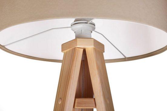 Kiom Stehlampe »Stehleuchte Jalua F creme & white Holz Dreibein«