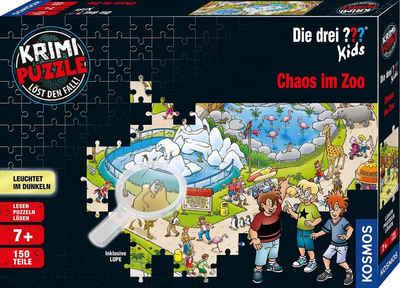 Kosmos Puzzle »Krimipuzzle Die drei ??? Kids Chaos im Zoo«, 150 Puzzleteile, leuchtet im Dunkeln, Made in Germany