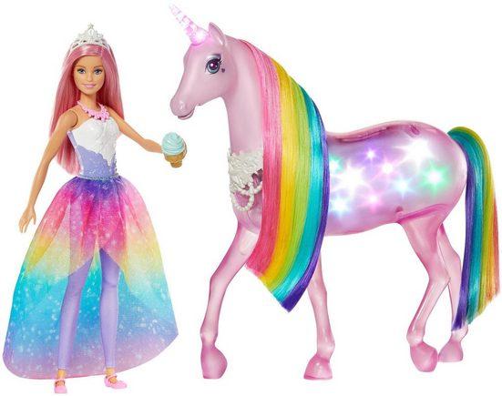 Mattel® Anziehpuppe »Barbie Dreamtopia Magisches Zauberlicht Einhorn mit Puppe«