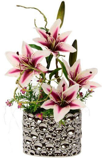 Kunstpflanze, Arrangement Lilien im Topf