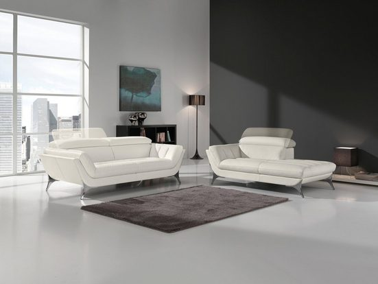 Egoitaliano Polstergarnitur »Sueli«, (Set), Set: bestehend aus Sofa und Recamiere, inklusive Kopfteilverstellung, Bezug Leder