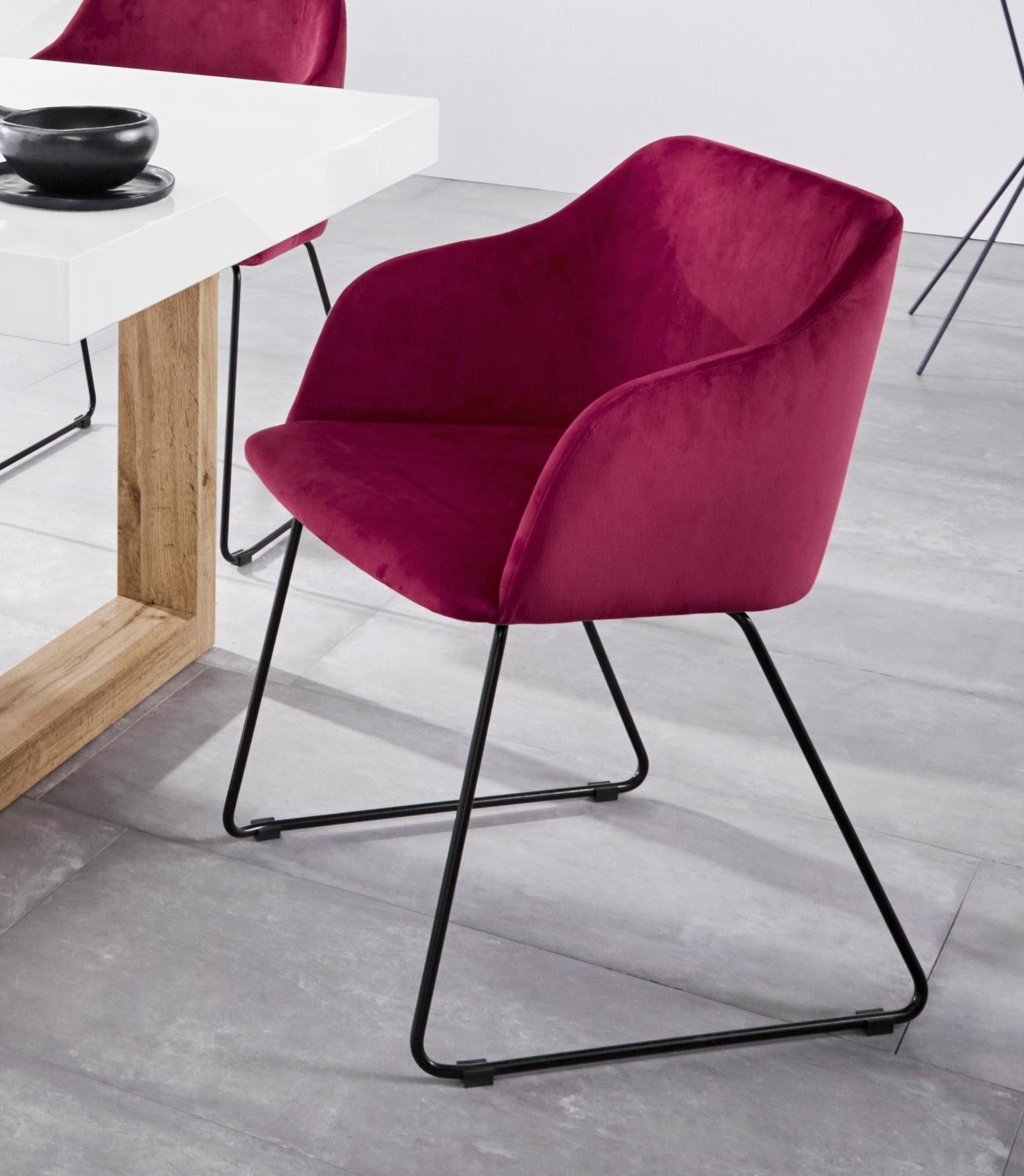 INOSIGN Stuhl »Fosco« 2er Set, aus schönem weichen Velvetbezug, mit schwarzen Metallgestell, Sitzhöhe 47 cm online kaufen | OTTO