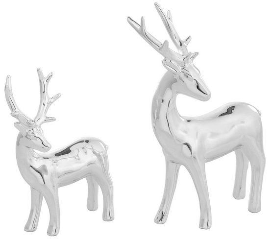 Home affaire Tierfigur »Hirsch« (Set, 2 Stück), Dekofigur, Hochglanz, Höhe ca. 13 cm und 16 cm