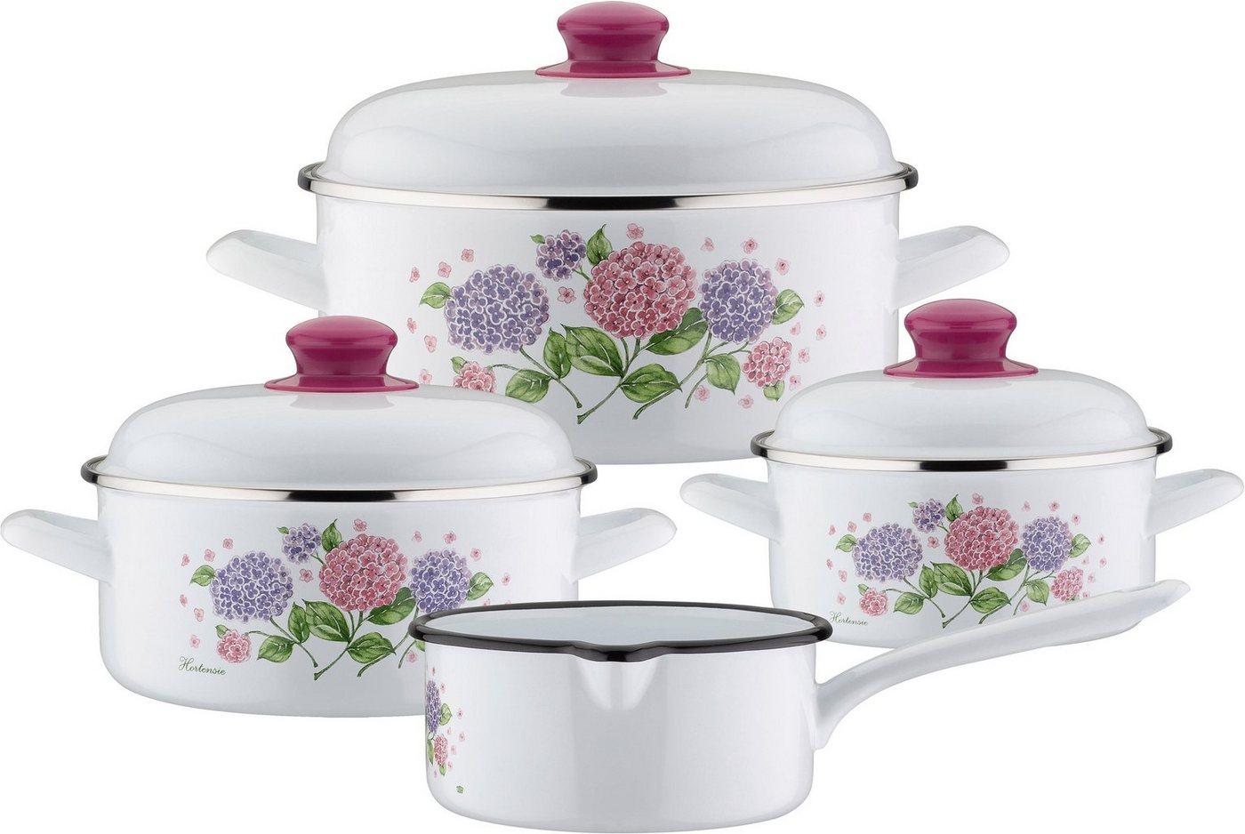 GSW Topf-Set »Hortensie«, Stahl-Emaille, (Set, 7 tlg), Induktion | Küche und Esszimmer > Kochen und Backen > Töpfe | Weiß | Stahl | GSW