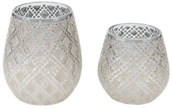 Windlicht (Set, 2 Stück), mit Perlen, Höhe 11 und 13 cm