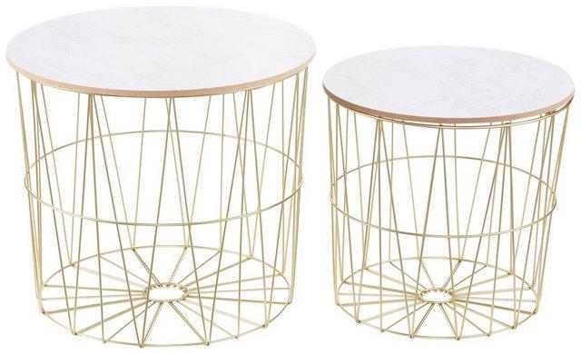 Wohnzimmertische - Beistelltisch (Set, 2 St), goldfarben mit Platte in Marmor Optik  - Onlineshop OTTO