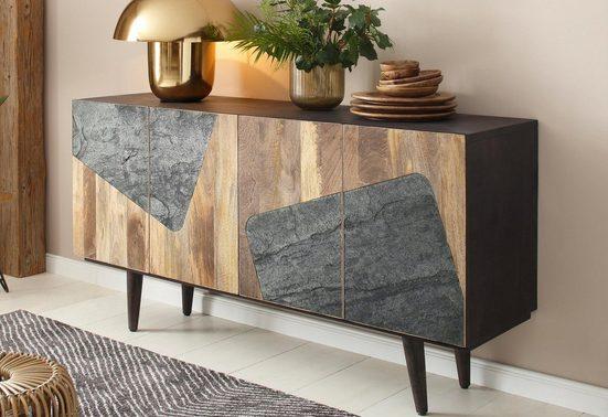 Home affaire Sideboard »Rocks«, aus schönem massivem Mangoholz, mit schwarzen rechteckigen Absetzungen auf den Türfronten, Breite 162 cm