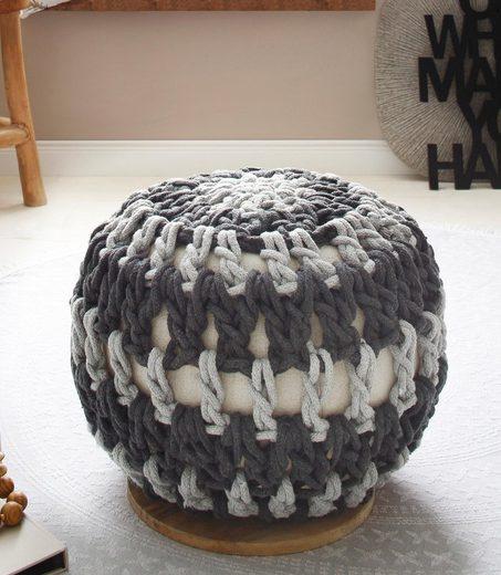 Home affaire Pouf »Macreme«, mit einem schönen Webstoff Bezug, Untergestellplatte aus massivem Mangoholz