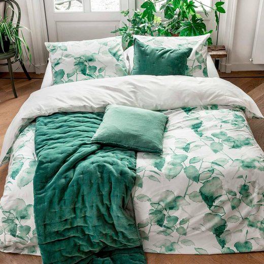 Wendebettwäsche »Green Leaves«, Walra, bedruckt mit grünen Blättern