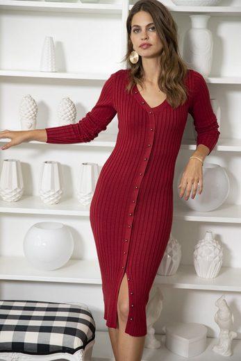 Laura Scott Strickkleid mit Zierknopfleiste im Vorderteil