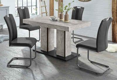 HELA Essgruppe »ROSE«, (Set, 5-tlg), bestehend aus einem Tisch 140-180 cm und 4 Stühlen