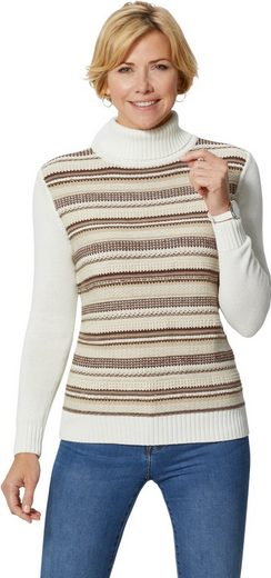 Casual Looks Pullover mit aufwändigem Strickmuster im Vorderteil