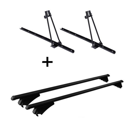 VDP Fahrradträger, 2x Fahrradträger ORION + Relingträger Tiger Stahl XL kompatibel mit BMW 2er F45 Active Tourer ab 14