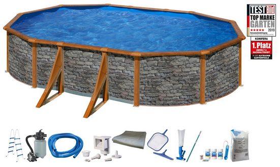 KONIFERA Set: Ovalpool »Panama IV«, 10-tlg., mit breitem Handlauf, in versch. Größen