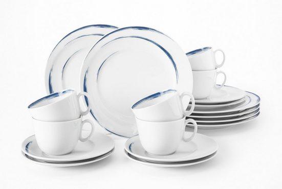 Seltmann Weiden Kaffeeservice »Paso« (18-tlg), Porzellan, blauer Pinselstrich