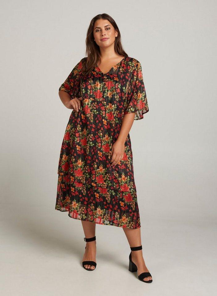 Zizzi Abendkleid Damen Große Größen Kleid Blumenprint ...