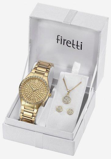 Firetti Quarzuhr »TLA-91305-Set«, (Set, Uhr mit 2 Ohrstecker und Kette mit Karabineranhänger)