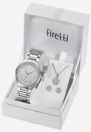Firetti Quarzuhr »TLA-91304-Set«, (Set, 5-tlg., Uhr mit 2 Ohrsteckern und Kette 45 cm verstellbar)