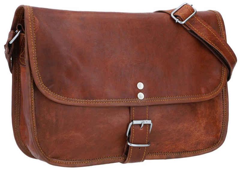 Gusti Leder Handtasche »Mary L« (1-tlg), Handtasche Umhängetasche Tablettasche Damen Vintage Braun Leder
