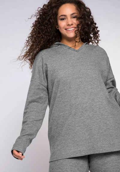 Sheego Kapuzensweatshirt mit V-Ausschnitt