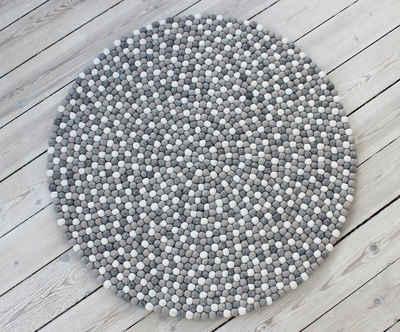Wollteppich »Mixed Color«, Wooldot, rund, Höhe 23 mm, Filzkugel-Teppich, reine Wolle, beidseitig verwendbar, Wohnzimmer