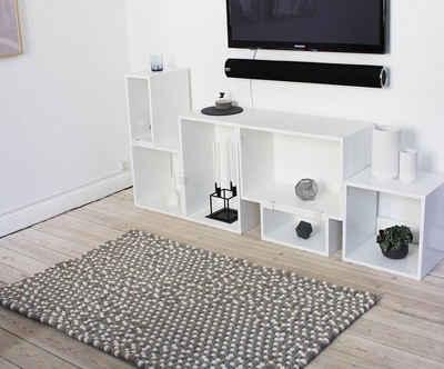 Wollteppich »Mixed Color«, Wooldot, rechteckig, Höhe 23 mm, Filzkugel-Teppich, reine Wolle, beidseitig verwendbar