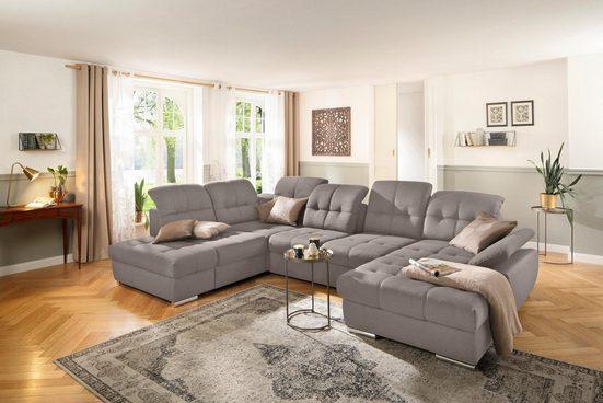 DELAVITA Wohnlandschaft »Lotus«, incl. Sitztiefenverstellung, in 3 Bezugsarten, wahlweise auch mit Kopfteil- und Armlehnenverstellung und Bettfunktion