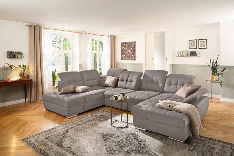 DELAVITA Wohnlandschaft »Lotus«, incl. Sitztiefenverstellung, in 4 Bezugsarten, wahlweise auch mit Kopfteil- und Armlehnenverstellung und Bettfunktion