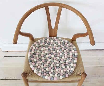 Wooldot Sitzkissen »Mixed Color«, rund, Filzkugel-Teppich, reine Wolle, auch als Set bestellbar