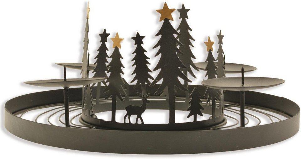 adventsleuchter aus metall mit winterlicher szene online. Black Bedroom Furniture Sets. Home Design Ideas