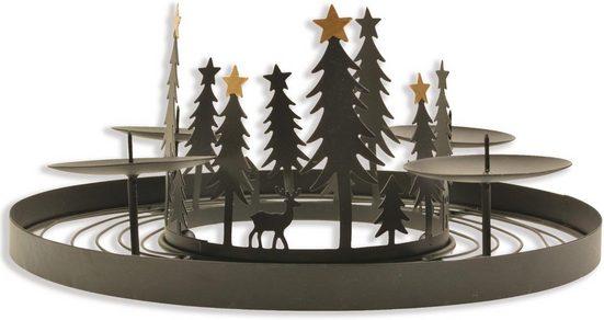 Adventsleuchter, aus Metall, mit winterlicher Szene