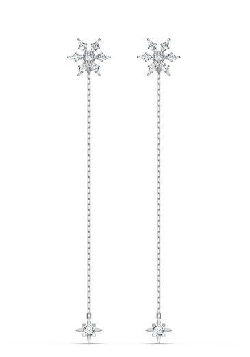 Swarovski Paar Ohrstecker »Magic Chain Ohrringe, weiss, rhodiniert, 5566677«, mit Swarovski® Kristallen und abnehmbaren Einhängern