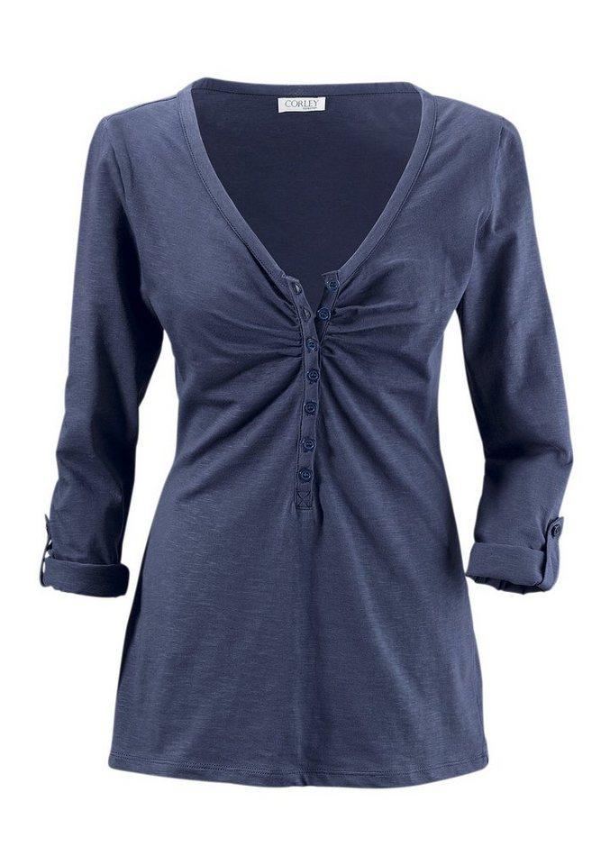 Cheer V-Shirt mit langen Ärmeln zum Krempeln in jeans-blau