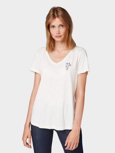 TOM TAILOR T-Shirt »T-Shirt mit Blumenstickerei«