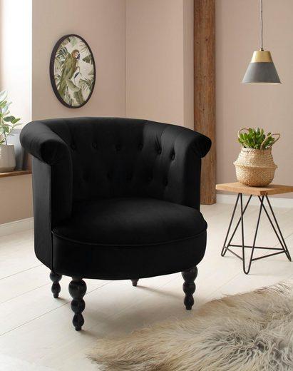 Home affaire Sessel »Egino«, aus schönem weichen Velvet Bezug, mit Massivholz Beinen, Sitzhöhe 45 cm