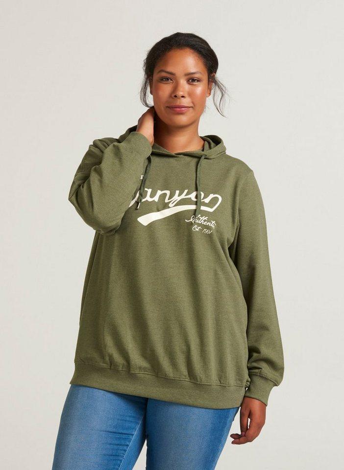 uk availability e2825 3f88e Zizzi Sweatshirt Damen Große Größen Sweatshirt Langarm mit Aufdruck Kapuze  Pulli online kaufen | OTTO