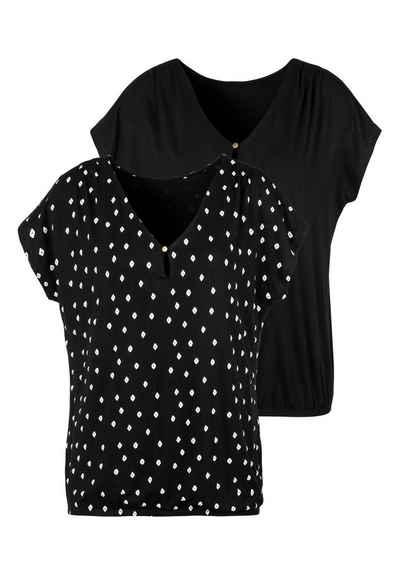 LASCANA T Shirt (2er Pack) mit Schulterraffung