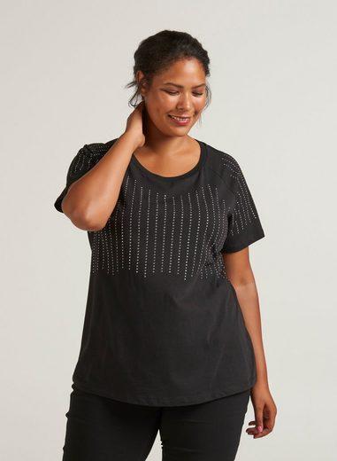 Zizzi T-Shirt Damen Große Größen T-Shirt Baumwolle Kurzarm Nieten Oberteil