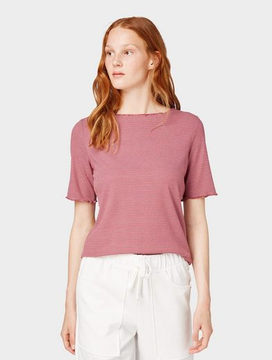 TOM TAILOR Denim T-Shirt »Gestreiftes T-Shirt in Ripp-Optik«