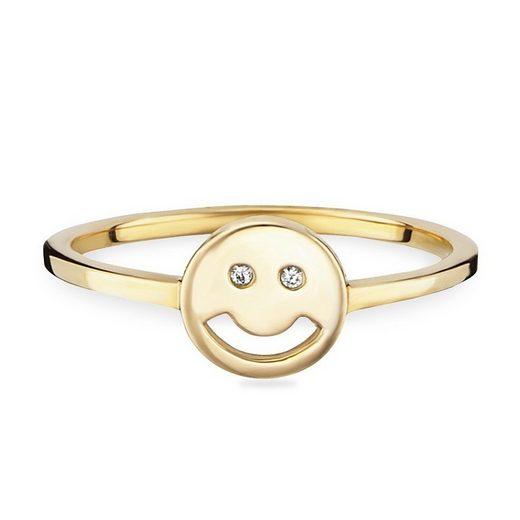 CAÏ Fingerring »925/- Sterling Silber vergoldet Emoji«