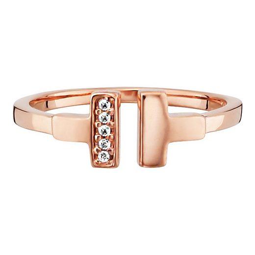 CAÏ Ring »925/- Sterling Silber rotvergoldet Zirkonia«