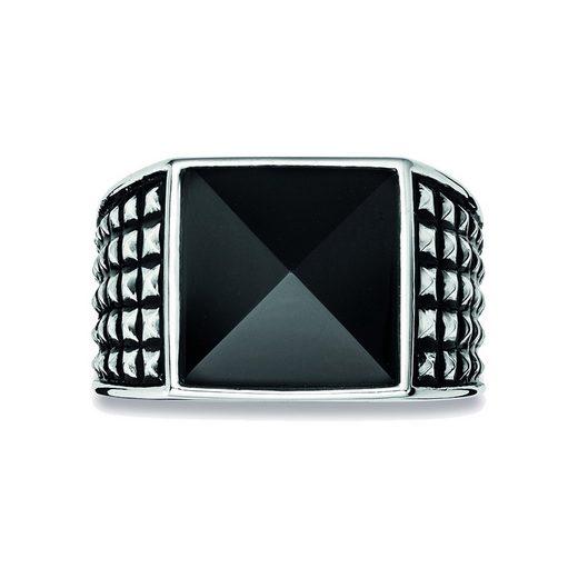 CAÏ Fingerring »925/- Sterling Silber rhodiniert poliert Onyx«, Ring