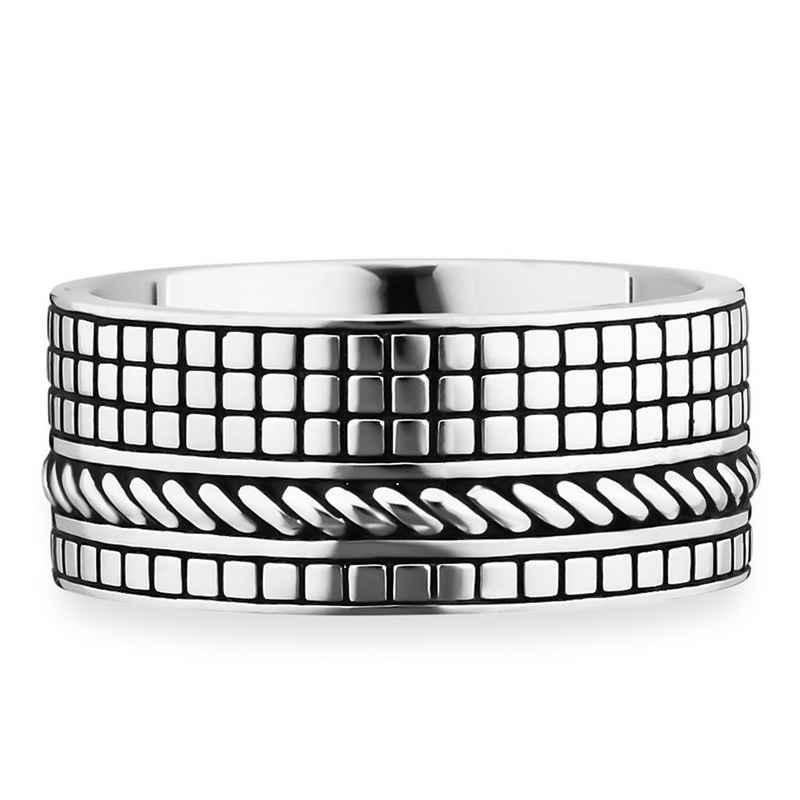 CAÏ Ring »925/- Sterling Silber rhodiniert Struktur«