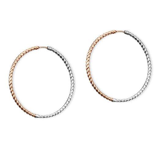 CAÏ Creolen »925/Sterling Silber bicolor rotvergoldet«